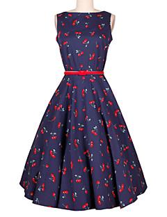 billige Kjoler-Dame Ferie Vintage A-linje Kjole - Blomstret, Trykt mønster Knælang