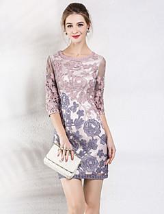 Χαμηλού Κόστους MARCOBOR-Γυναικεία Χαριτωμένο Εφαρμοστό Φόρεμα - Μονόχρωμο Φλοράλ Πάνω από το Γόνατο