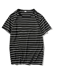 billige T-shirt-Rund hals Tynd Herre Dame - Stribet Bomuld, Flettet Plusstørrelser T-shirt