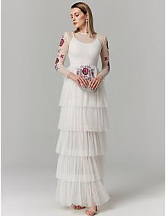 tanie Sukienki na zakończenie szkoły-Księżniczka Linia złudzenia Sięgająca podłoża Spandeks Tiul Kolacja oficjalna Sukienka z Haft nakładany Warstwowane przez TS Couture®