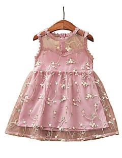 billige Babykjoler-baby pige blomsterkjole, polyester sommer ærmerøs beige rødme pink grøn 130 120 110 100 90