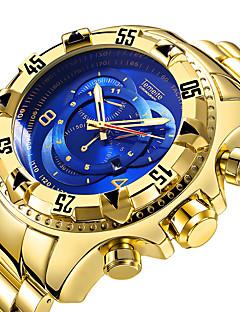 저렴한 럭셔리 시계-남성용 스포츠 시계 석영 블랙 / 실버 / 골드 달력 캐쥬얼 시계 큰 다이얼 아날로그 사치 멋진 - 골드 / 화이트 블랙 / 실버 실버 / 블루