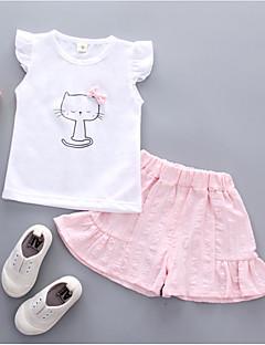 billige Tøjsæt til piger-Baby Pige Kat Trykt mønster Kortærmet Tøjsæt