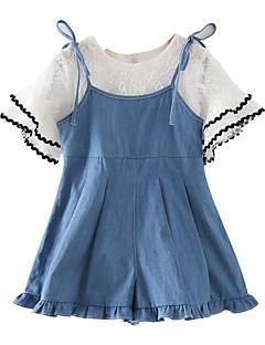 billige Tøjsæt til piger-Børn Pige Ensfarvet Kortærmet Tøjsæt