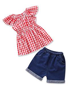 billige Tøjsæt til piger-Baby Pige Houndstooth mønster Kortærmet Tøjsæt