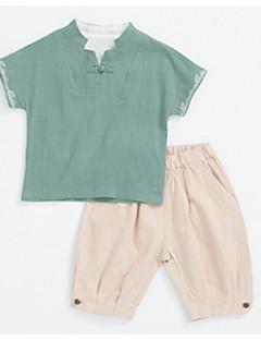 billige Tøjsæt til drenge-Børn Drenge Ensfarvet Kortærmet Tøjsæt