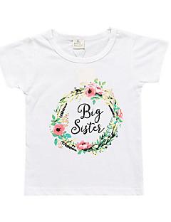 billige Pigetoppe-Børn Pige Geometrisk Kortærmet T-shirt