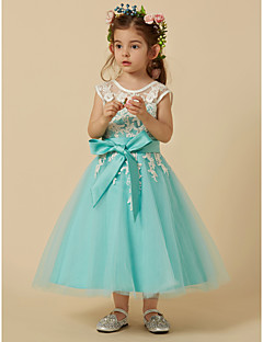 cheap Pageant Dresses-A-Line Knee Length Flower Girl Dress - Lace Tulle Sleeveless Jewel Neck with Appliques Bow(s) Sash / Ribbon by LAN TING Express