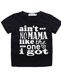billige Overdele til drenge-Baby Pige Drenge Sort og hvid Trykt mønster Kortærmet T-shirt