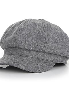 billige Hatter til damer-Dame Grunnleggende Beret Ensfarget Ull Lin
