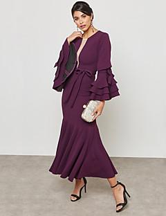 baratos Vestidos de Marca-Mulheres Sofisticado / Moda de Rua Tubinho / Bainha / balanço Vestido - Frufru / Cordões, Sólido Longo