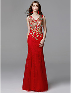 cheap Prom 2019-Mermaid / Trumpet V Neck Floor Length Lace / Tulle Prom / Formal Evening Dress with Beading / Lace by TS Couture®