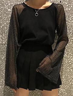 billige Bluse-Dame - Ensfarvet Kvast Vintage Bluse Blå & Hvid