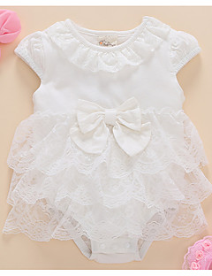 billige Babytøj-Baby Pige Ensfarvet Kortærmet Kjole