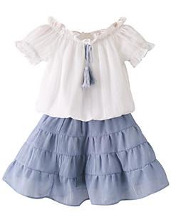 billige Tøjsæt til piger-Baby Pige Ensfarvet Kortærmet Tøjsæt