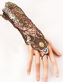 billiga Lolitamode-Fingerless Long Handskar Gotiskt Dam Svart lolita tillbehör Vintage Spets Handskar Spets Halloweenkostymer