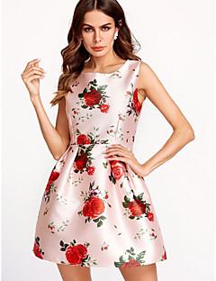 baratos Vestidos de Festa-Mulheres Algodão Bainha Vestido Floral Mini