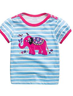 billige Pigetoppe-Børn / Baby Pige Stribet / Patchwork Kortærmet T-shirt