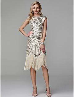 billiga Cocktailklänningar-Åtsmitande Prydd med juveler Asymmetrisk Polyester Glitter och glans / Den lilla svarta Cocktailfest / Bal Klänning med Paljett av TS Couture®