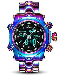 voordelige Digitale horloges-Heren Sporthorloge Wit / Paars 30 m Waterbestendig Kalender Analoog-Digitaal Luxe Modieus - Wit Paars