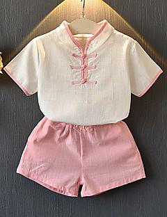 billige Tøjsæt til piger-Børn Pige Ensfarvet / Farveblok Kortærmet Tøjsæt