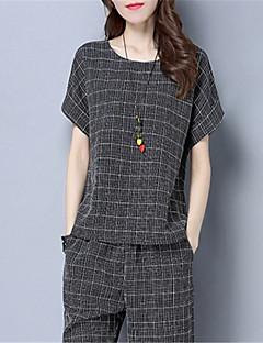 billige T-shirt-T-shirt til kvinder - stribet rundt hals