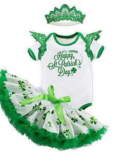 billige Sett med babyklær-Baby Pige Farveblok Kortærmet Tøjsæt