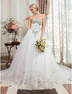 cheap High-end Wedding Dresses-Ball Gown Strapless Chapel Train Satin / Tulle Made-To-Measure Wedding Dresses with Beading / Appliques by LAN TING BRIDE®