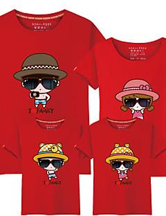 billige Sett med familieklær-4 deler Baby Familie Look Fargeblokk / Bokstaver Kortermet T-skjorte