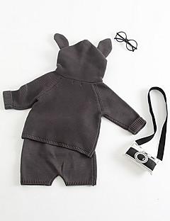billige Tøjsæt til piger-Børn Unisex Ensfarvet Langærmet Tøjsæt