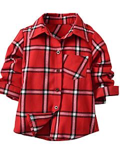 billige Overdele til drenge-Børn Baby Drenge Geometrisk Farveblok Langærmet Skjorte