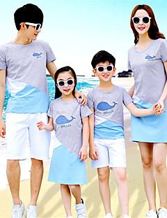 billige Sett med familieklær-Voksen Familie Look Ensfarget Kortermet T-skjorte