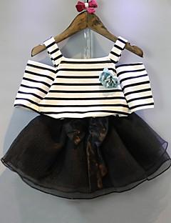 billige Tøjsæt til drenge-Børn Drenge Sort og hvid Ensfarvet / Stribet Kortærmet Tøjsæt