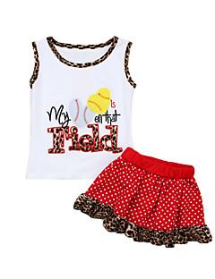 billige Tøjsæt til piger-Børn Pige Stribet Trykt mønster Leopard Kortærmet Tøjsæt