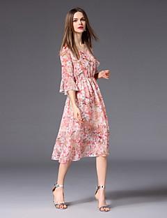 Χαμηλού Κόστους Γυναικεία Φορέματα-Γυναικεία Χαριτωμένο Flare μανίκι Γραμμή Α Φόρεμα - Φλοράλ, Στάμπα Ως το Γόνατο
