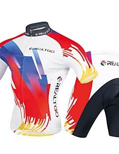 billige Sykkelklær-Realtoo Herre Kortermet Sykkeljersey med shorts - Rød / Hvit Sykkel Klessett, 3D Pute Polyester, Spandex Geometrisk / Elastisk