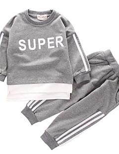 billige Tøjsæt til drenge-Børn Drenge Sort og hvid Trykt mønster Langærmet Tøjsæt