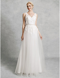 cheap Wedding Dresses-A-Line V Neck Court Train Lace / Satin / Tulle Made-To-Measure Wedding Dresses with Beading / Appliques by LAN TING BRIDE® / Beautiful Back