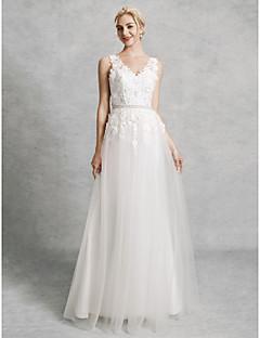 billiga Brudklänningar-A-linje V-hals Hovsläp Spets / Satäng / Tyll Bröllopsklänningar tillverkade med Bård / Applikationsbroderi av LAN TING BRIDE® / Vacker i svart