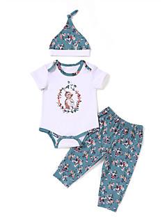 billige Tøjsæt til piger-Børn Baby Unisex Ensfarvet Kortærmet Tøjsæt