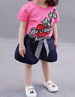 billige Tøjsæt til piger-Baby Pige Ensfarvet / Blomstret Kortærmet Tøjsæt