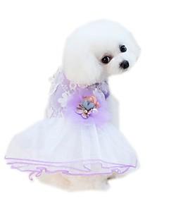 billiga Hundkläder-Husdjur Klänningar Hundkläder Voiles & Skira / Blomma / Blommig / Botanisk Purpur / Rosa Bomull / Polyester / Nät Kostym För husdjur