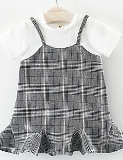 billige Pigekjoler-Baby Pige Ternet Kortærmet Kjole