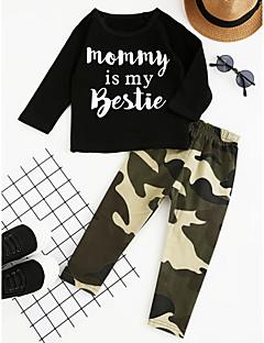 billige Tøjsæt til drenge-Drenge Tøjsæt Fest Daglig I-byen-tøj Geometrisk, Bomuld Polyester Forår Efterår Alle årstider Langærmet Ternet Sort