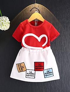 billige Tøjsæt til piger-Børn Pige Farveblok Kortærmet Tøjsæt