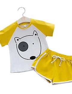 billige Tøjsæt til drenge-Børn Drenge Sort & Rød Farveblok Kortærmet Tøjsæt