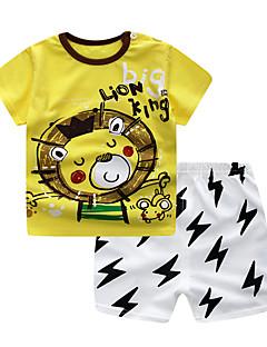 billige Tøjsæt til drenge-Baby Drenge Løve Trykt mønster / Farveblok Kortærmet Tøjsæt