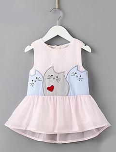 Χαμηλού Κόστους Do Your Kids Love Cats??-Παιδιά Κοριτσίστικα Ενεργό Γεωμετρικό Αμάνικο Φόρεμα