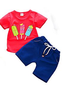 billige Tøjsæt til drenge-Baby Drenge Kat Trykt mønster Kortærmet Tøjsæt