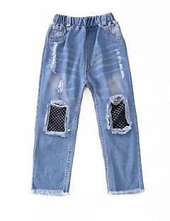 billige Bukser og leggings til piger-Børn Pige Patchwork Jeans